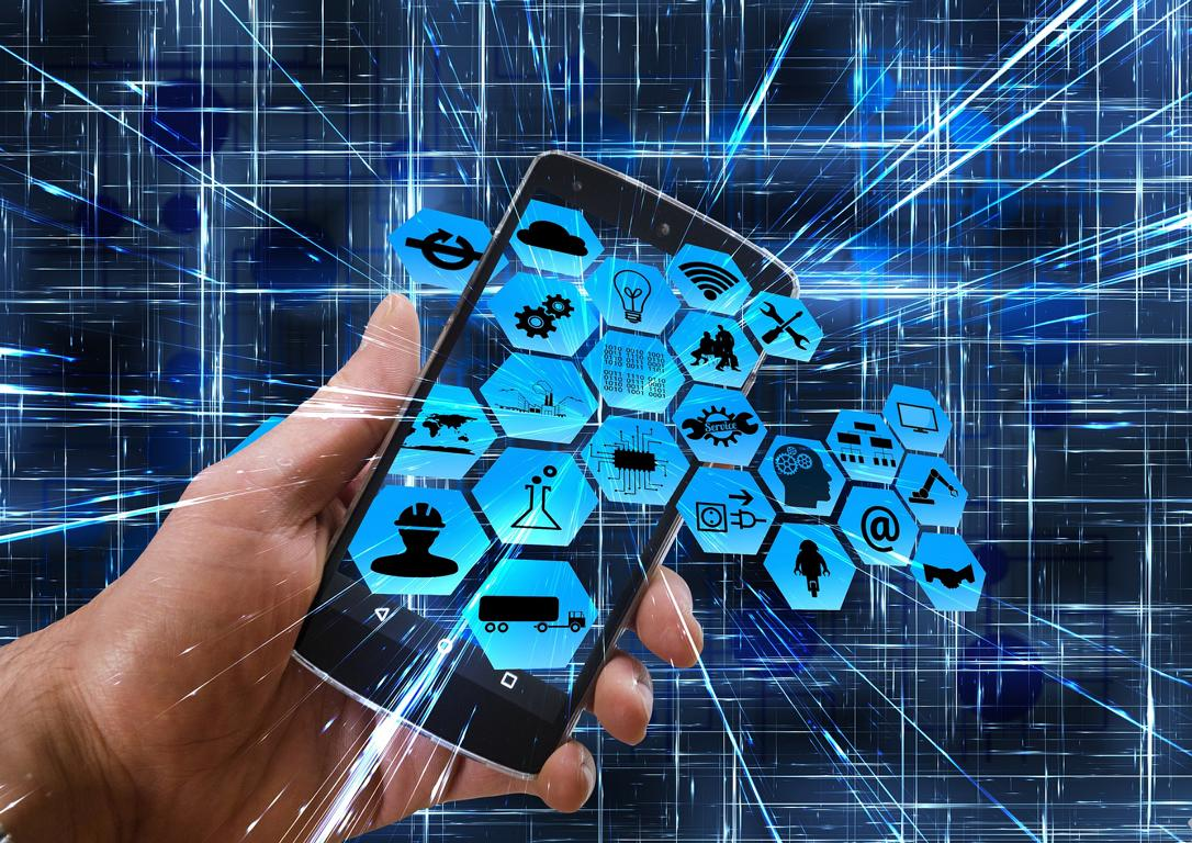 Mehrere Icons, die verschiedene Sektoren im Hightech-Bereich darstellen.
