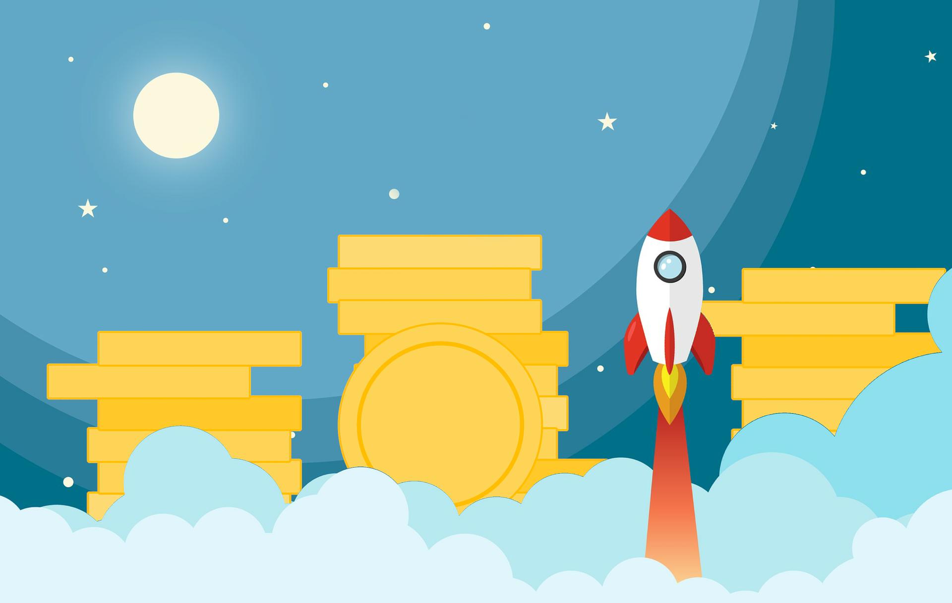 Eine Rakete startet vor einem Stapel Goldmünzen durch die Wolken in den Himmel. Symbolbild für die Startup-Förderung