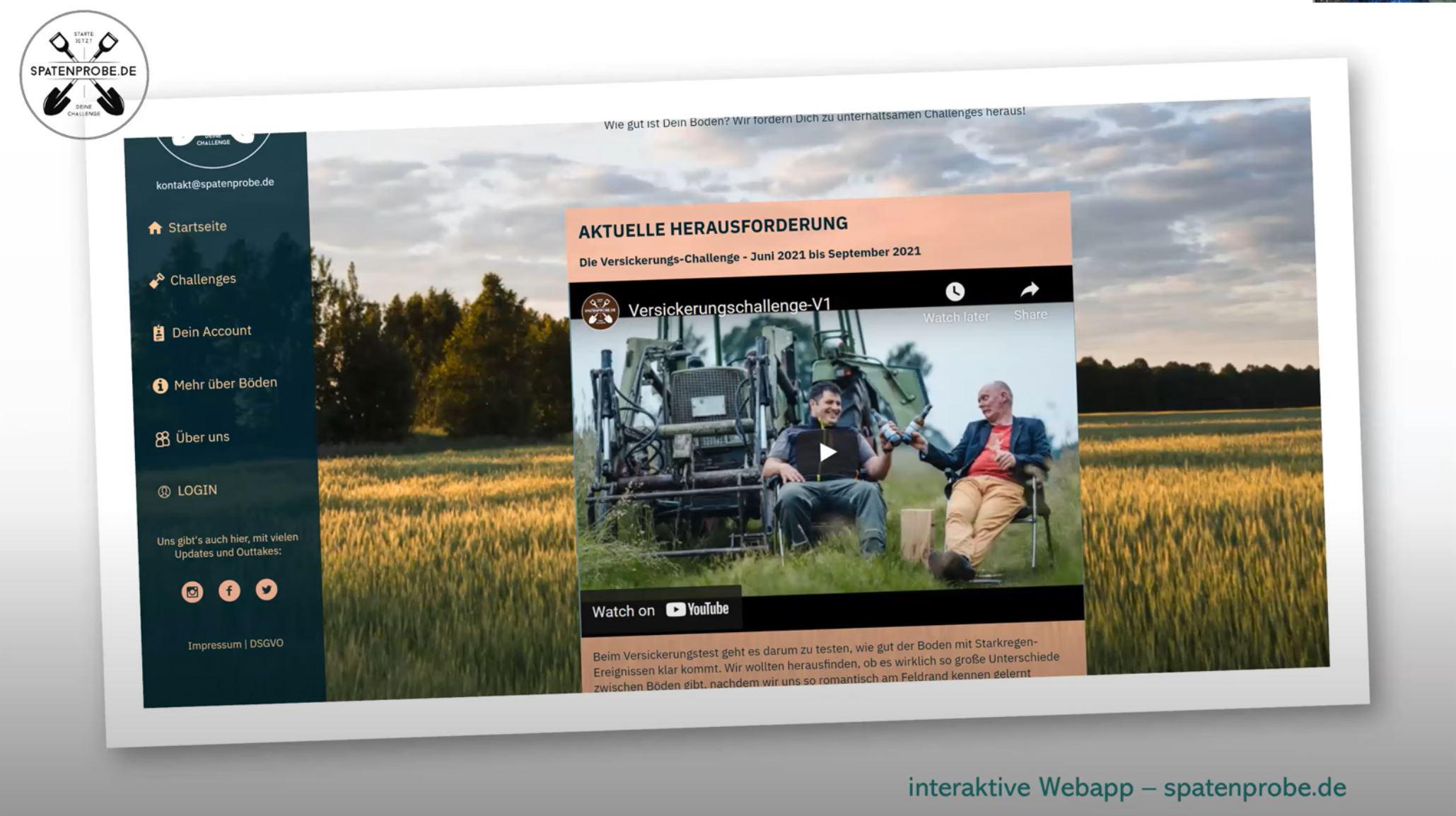 """Das Bild zeigt die Startseite der Webseite von dem UpdateDeutschland-Projekt """"Spatenprobe""""."""